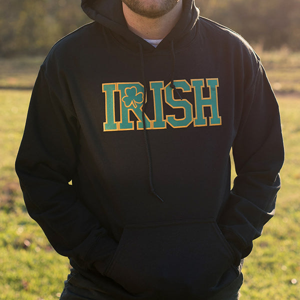 Hooded Sweatshirt - Black with Green Lettering