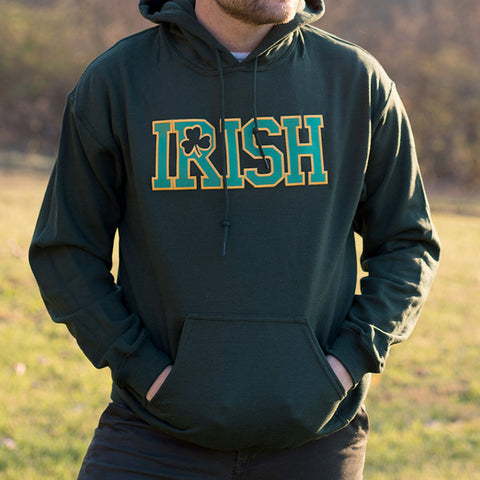 Hooded Sweatshirt - Forest Green with Gold & Green Lettering