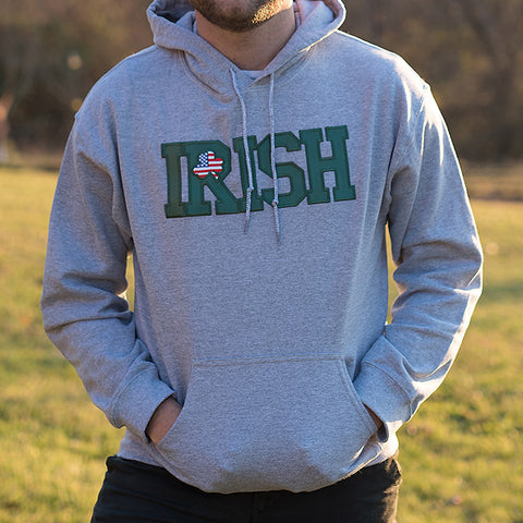 Hooded Sweatshirt - Light Grey with Green Lettering and American Flag