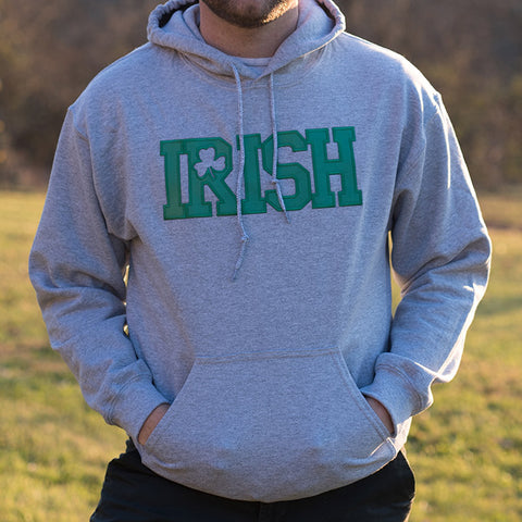 Hooded Sweatshirt - Light Grey with Green Lettering