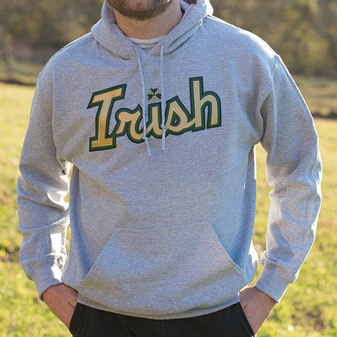 Hooded Sweatshirt - Light Grey with Gold Italic Lettering