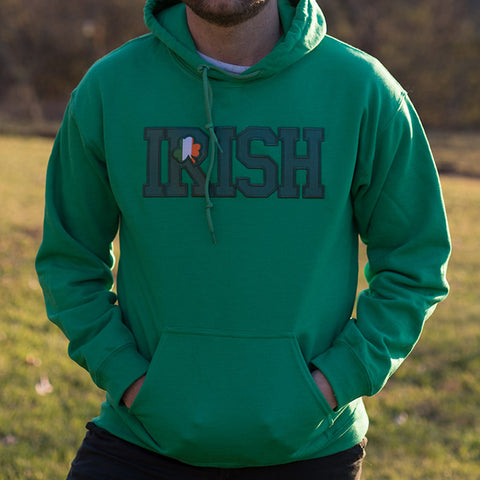 Hooded Sweatshirt - Kelly Green with Green Lettering & Irish Flag