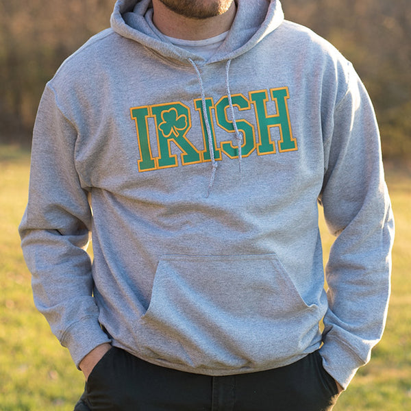 Hooded Sweatshirt - Light Grey with Green & Gold Lettering