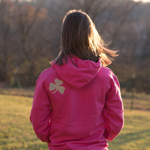 Hooded Sweatshirt - Pink with Gold Lettering