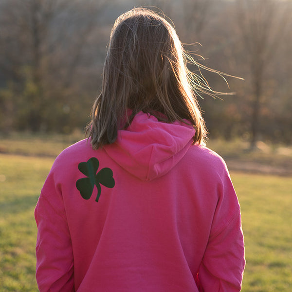 Hooded Sweatshirt - Pink with Green Lettering & American Flag