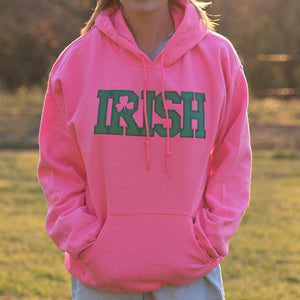 Hooded Sweatshirt - Pink with Green Lettering