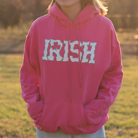 Hooded Sweatshirt - Pink with White & Green Striped Lettering