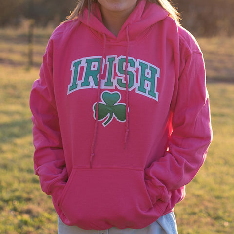 Hooded Sweatshirt - Pink with Green & White Lettering & Shamrock on the front