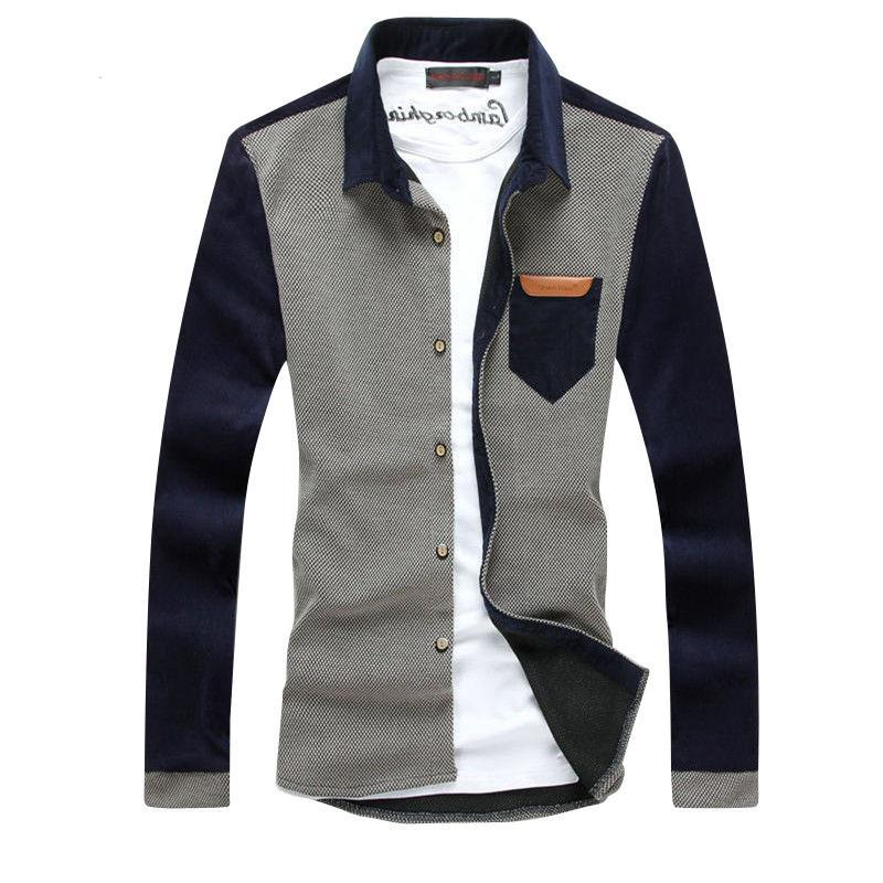 Casual Long Sleeve Corduroy Stitching Shirt - Rock & Gear