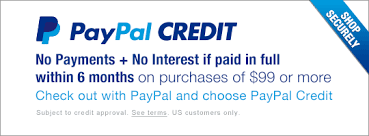 PayPal Credit - Get 6 months to pay on $99 or more.