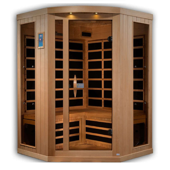 Planet Sauna:Kari 3 Person Corner Near Zero EMF Far Infrared Sauna,Sauna,Golden Designs Saunas