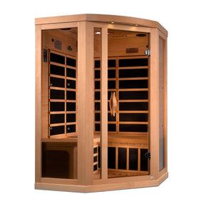 Planet Sauna:Nash 3 Person Corner Near Zero EMF Far Infrared Sauna with Full Spectrum Option Available,Near Zero EMF Carbon Heaters,Sauna,Golden Designs Saunas
