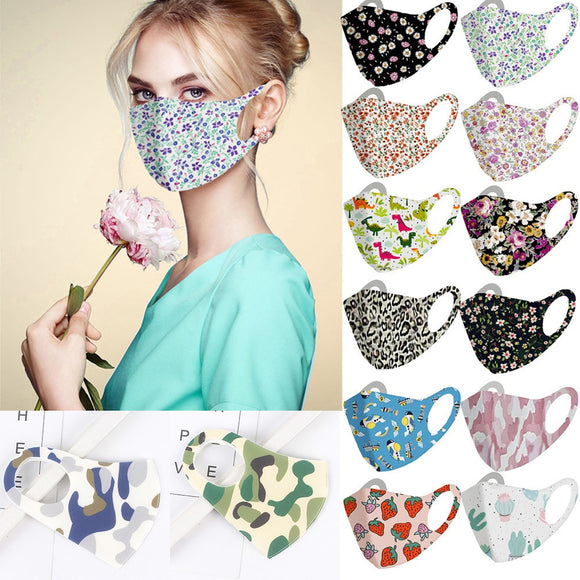 Fashionable Flowers Camouflage Face Mask For Adults Men Lady Printed Dust Face Masks Washable Reusable For Adults Mouth Mask