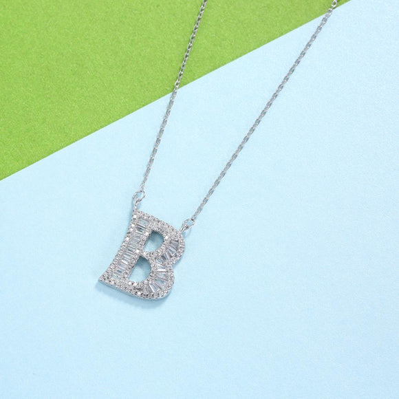 Sterling Silver Letter Pendant Necklace