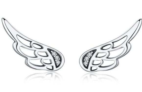 Genuine Sterling Silver  Feather Fairy Wings Stud Earrings Silver for Women Fashion Silver Jewelry