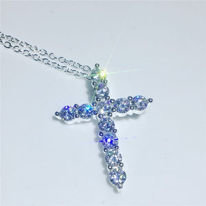 Fashion 6 colors Cross Pendant AAAAA cz Stone sterling silver