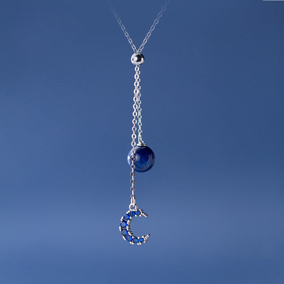 925 Sterling Silver Blue Rhinestone Stone Moon Pendant Necklaces Jewelry Females Gifts