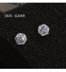 Sterling Silver Color Simple Round Bling CZ Zircon Stone Stud Earrings for Women Girl