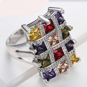 Boutique Women 925 Sterling Silver Colorful Geometric Rings Square Big Cubic Zircon Romantic Promise Engagement Jewelry
