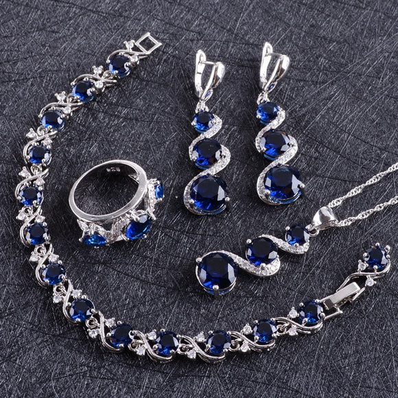 Blue Zircon Silver  Jewelry Sets Women Costume Pendant Necklace Rings Bracelets Earrings With Stones Set Gift Box