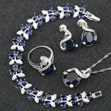 Sliver Silver Costume Jewelry Sets For Women Bracelets/Necklace/Pendant/Stud Earrings/Rings Wedding Set With Blue Stones Free Box