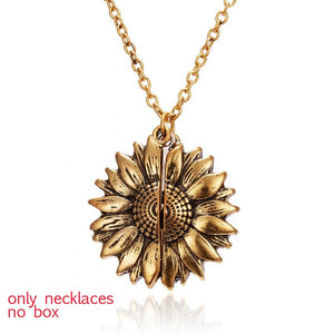 2021 New Gold Necklaces Women Fashion Jewelry Letter Engraved Open Locket Sunflower Pendant Necklaces Women Girl Birthday Gift