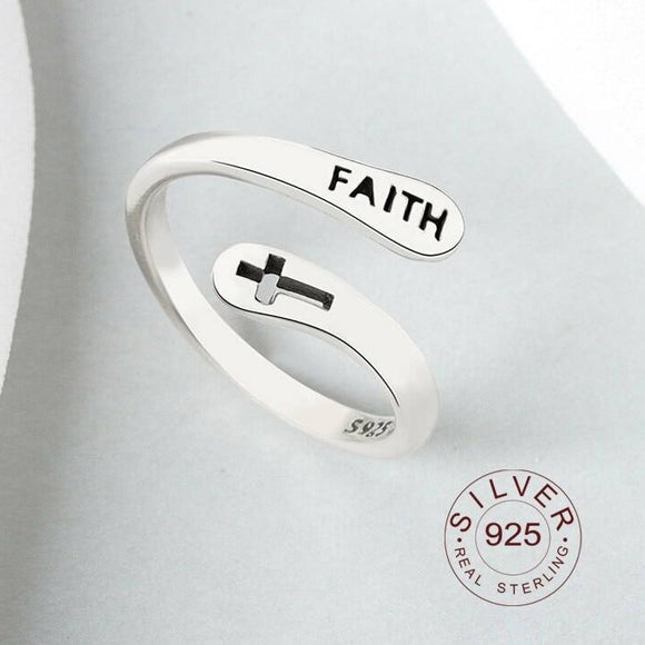 Real 925 Sterling Silver Rings For Women vintage Faith Cross Letters Round Engagement Rings Silver 925 Jewelry Anillos Mujer