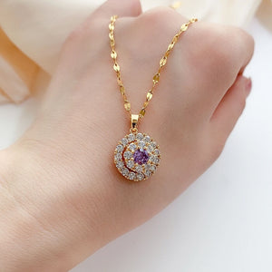 18K Gold Necklace White Diamond Pendants for Women Bijoux Femme Collares Joyas Natural Pierscionki Bizuteria Gemstone Pendant