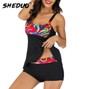New Arrival Tummy Control Swimsuit Women Print Flower Bathing Suit Womens Vintage Retro Bodysuit Push Up Tankini Plus Size Wear
