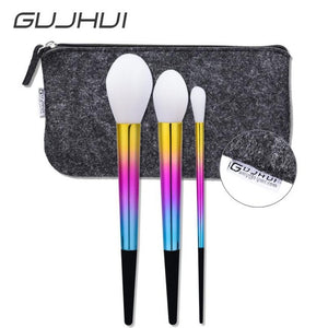 New 3pcs Makeup Brushes set Fondation Eyeshadow Cosmetic Tool with Leather cosmetic bag professional Makeup Brushes set maquiage