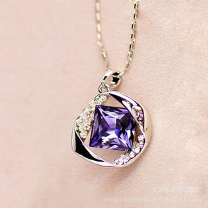 Women's Synthetic Topaz Stone Crystal Pendant Necklace