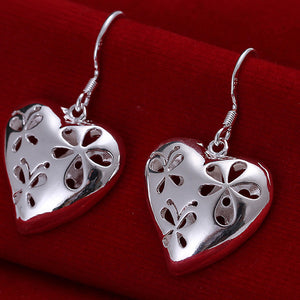 Women Delicate Chic Silver Plated Flower Heart Dangle Earrings