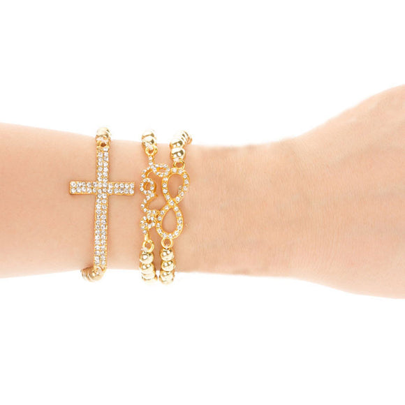 3PC Lady Girl Cross Love Bead Pearl Nice Rhinestone Bracelet Chain GD