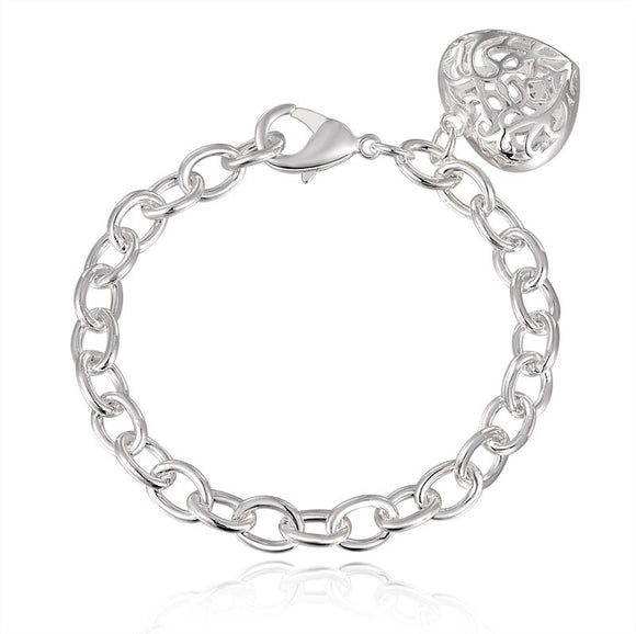 Bangle Chain Bracelet New Women Jewelry Sterling Silver Crystal Cuff Charm