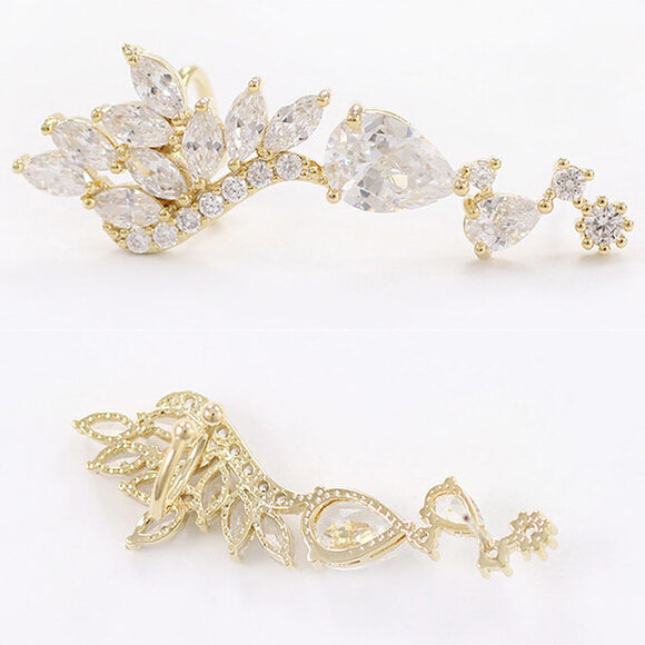 1 Piece Gothic Gold Silver Angel Wing Cute Star Lure Ear Clip Earring GD