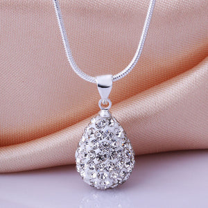 Womens Elegant Silvering Chain Crystal Rhinestone Water-Drop Necklace