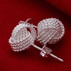 New High Quality Elegant Porcelain Tennis Mesh Silver Earrings Jewelry