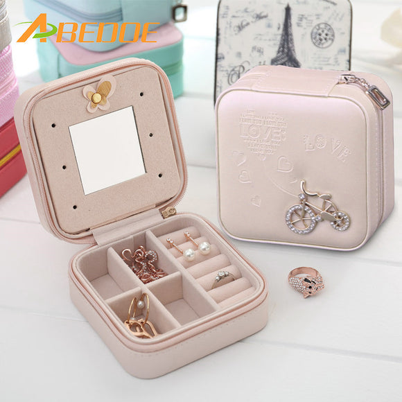 Double Layers Leather Jewelry Casket Bag Necklace Earrings Ring Storage Case Accessories Organizer Box with Mirror