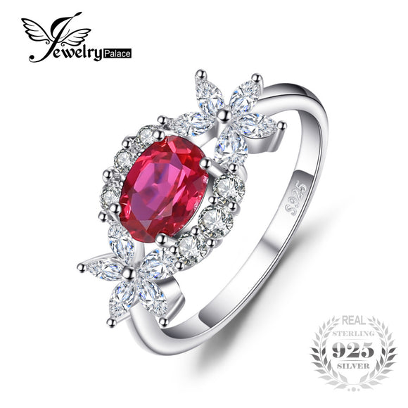 JewelryPalace Flower 1.7ct Created Ruby Halo Ring 925 Sterling Silver New For Women Unique Gift  Hot Selling For Women