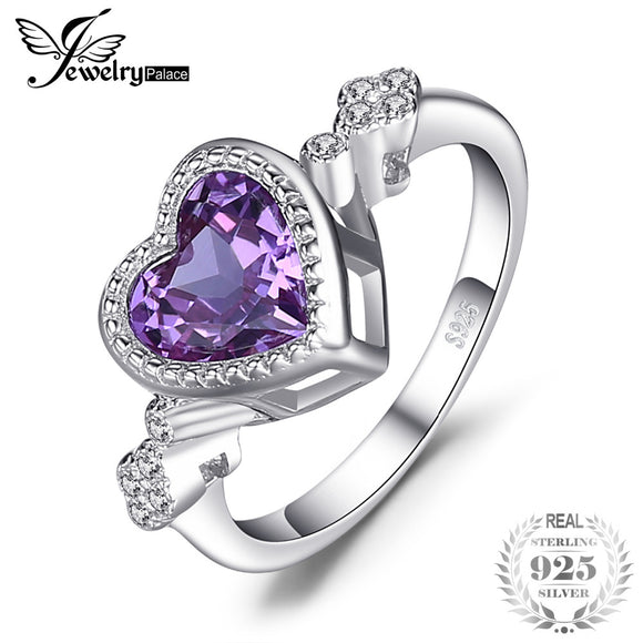 JewelryPalace Heart Love 2.6ct Created Alexandrite Sapphire Ring 925 Sterling Silverr Fine Jewelry hot selling 2017 gift for mom