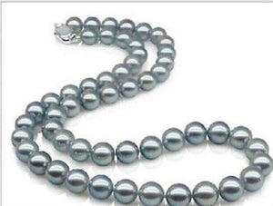 "AAAA 18"" 10-11mm REAL NATURAL south sea gray pearl necklace Sterling silver >Selling jewerly free shipping"
