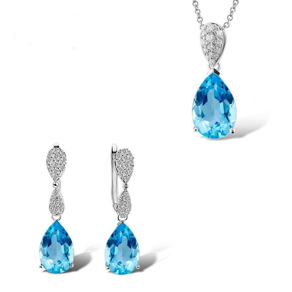 Jewelry Set For Women Magic Sky Blue Crystal CZ Stones Drop Earring Pendant Set Sterling Silver Fashion Jewelry