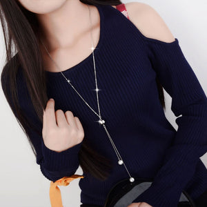 Sterling Silver Charm Long Sweater Chain Necklacer for Women Pearl Rhinestone Choker Jewelry Accessories Trendy Gift