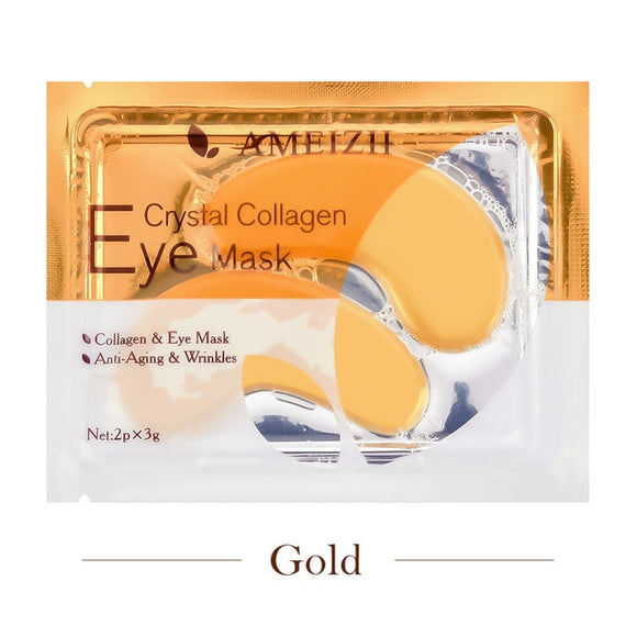 1Pair 24K Gold Crystal Collagen Eye Mask Eye Patches For Eye Care Dark Circles Remove Anti-Aging Wrinkle Skin Care