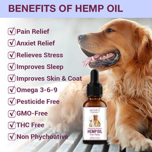 500Mg hemp essential oil for dogs Joint hip supprt Strengtheens immunity Pet Flea Tick Prevention Solution-Natural Essential Oil