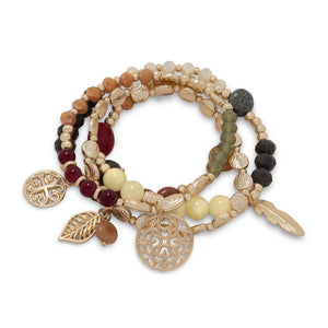 On Demand Gold Tone Fashion Stretch Bracelet with Mulitcolor stones