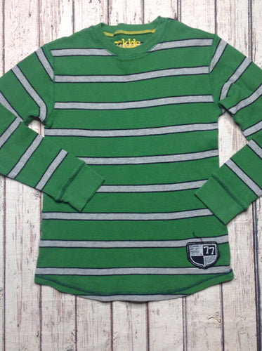 77 Kids Green & Gray Stripe Top