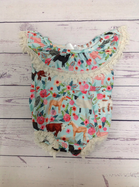 Baby Boutique Blue Print One Piece