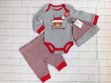 Baby Essentials GRAY & RED 1st Christmas 2 pc set