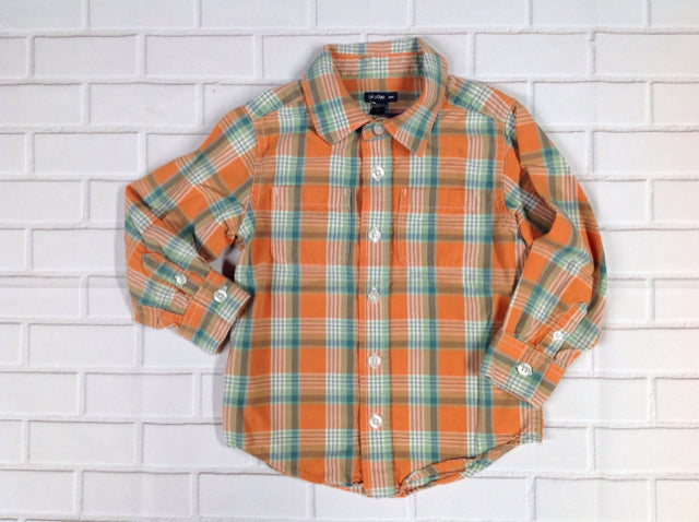 Baby Gap Orange & Green Plaid Top